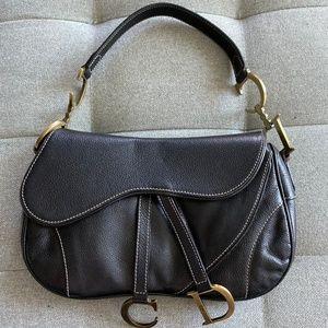 CHRISTIAN DIOR Black Leather Double Saddle Bag